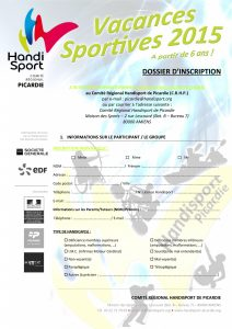 Dossier Inscription - Vacances Sportives 2015-2