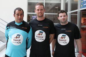 Gaétan, Benoit et Lionel, éducateurs de l'Ecole Pauleta SportZone. Photo : Leandre Leber - Gazettesports.fr