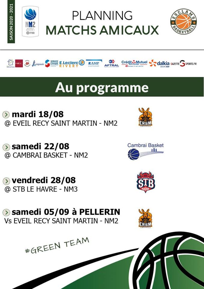 Programme Esclams Basket Ball